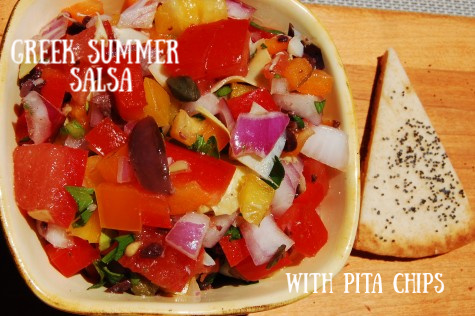 Post image for Greek Garden Salsa with Pita Chips