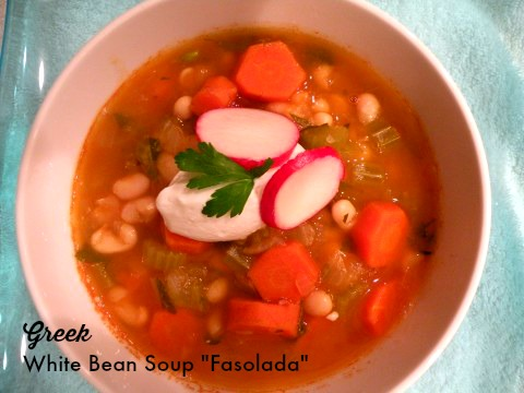 "Post image for Greek White Bean Soup with Vegetables ""Fasolada"""
