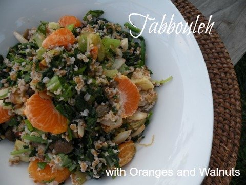 Post image for Tabbouleh – Bulgur Salad with Greens, Mushrooms and Mandarin Oranges