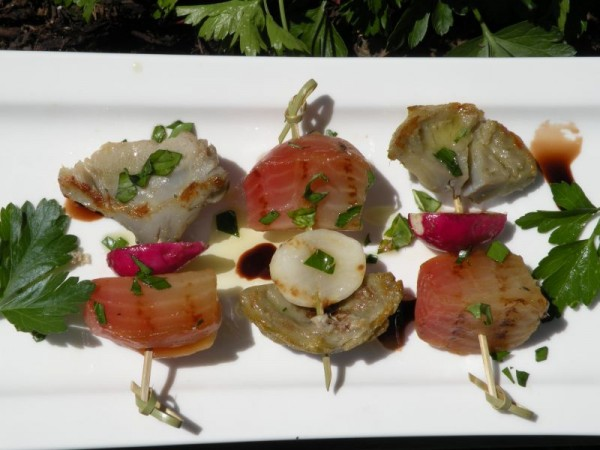 Post image for Grilled Artichokes, Roasted Striped Beets with Rainbow Radishes
