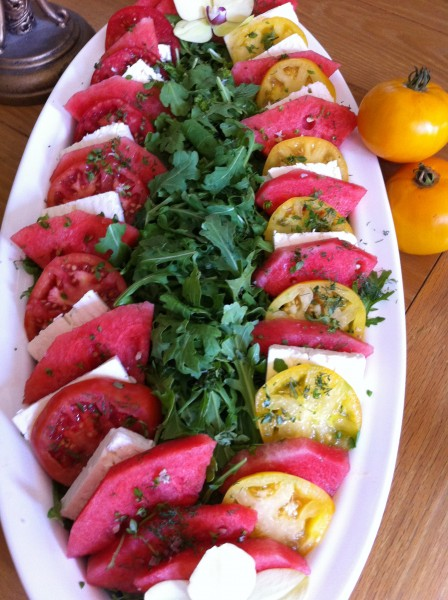 Arugula Salad with Tomatoes,Watermelon and Greek Feta ...