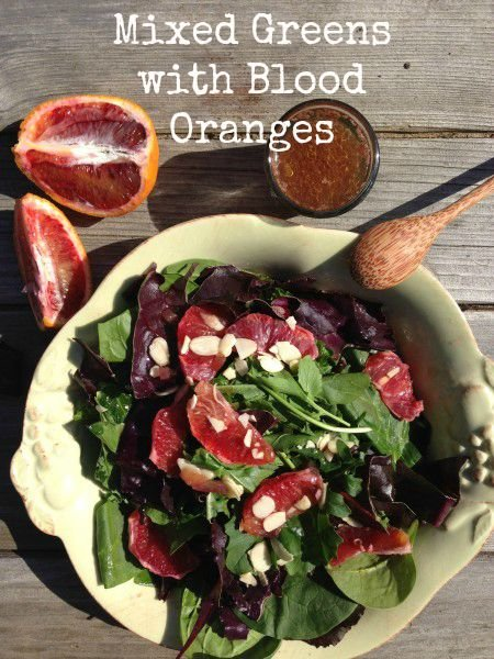 Post image for Mixed Greens and Blood Oranges with Warm Pomegranate Vinaigrette
