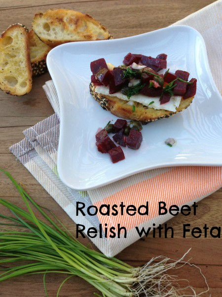 Post image for Roasted Beet Relish with Feta on Crostini