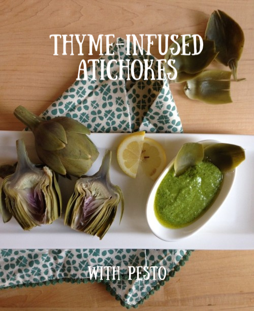 Post image for Thyme Infused Artichokes with Pesto
