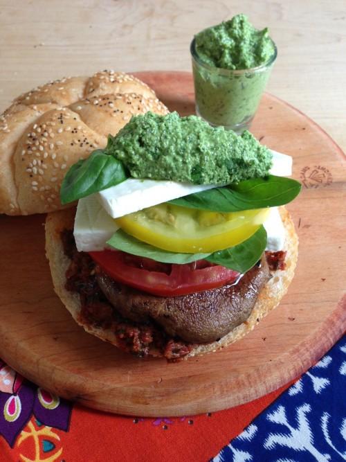Post image for Portobello Tomato-Feta Caprese Burger for Dog Days of Summer