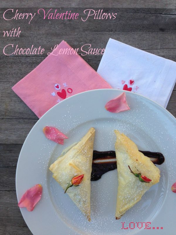 Post image for Cherry Valentine Pillows with Chocolate Lemon Sauce