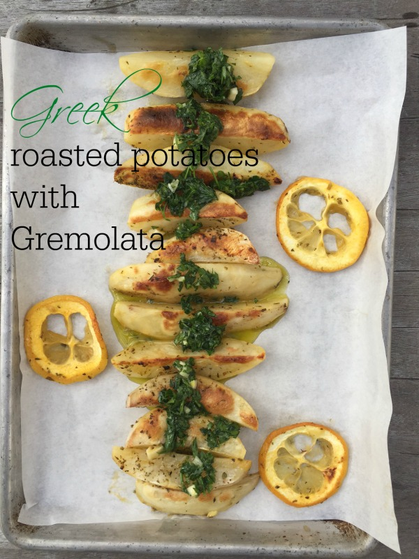 Post image for Greek Roasted Potatoes with Gremolata Sauce